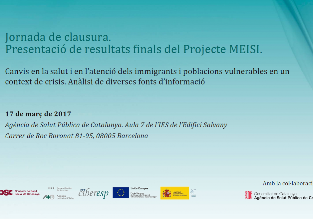 Jornada de clausura. Presentación de resultados finales del Proyecto MEISI