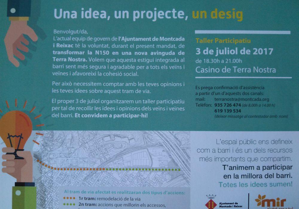 Participació veïnal per a la renovació del tram de la N150 a Montcada i Reixac
