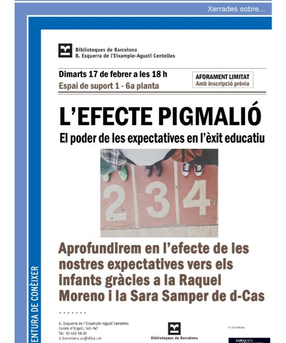 Taller sobre l'Efecte Pigmalió a Barcelona a càrrec de D-CAS