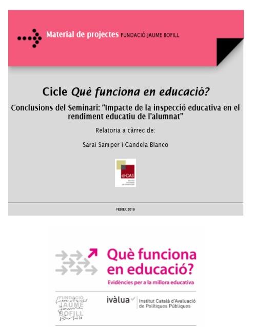 Publicades les relatories a càrrec de D-CAS del cicle: 'Què funciona en l'educació?'